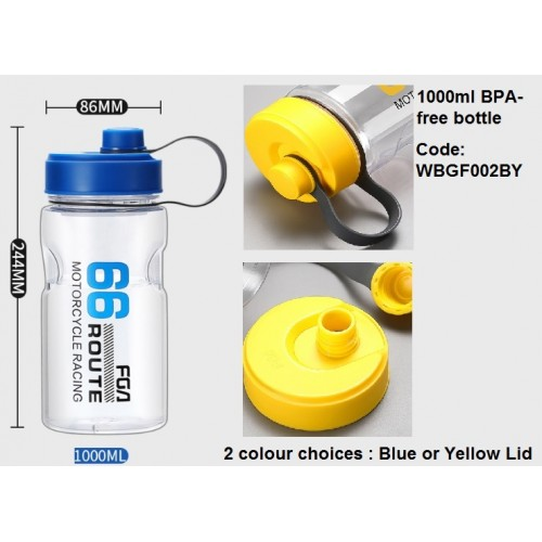 1000ml capacity plastic BPA-free water bottle drinkware