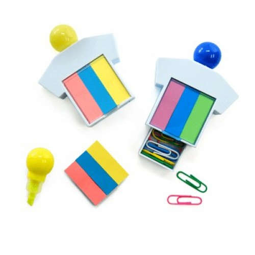 3-in-1 highlighter, sticky notepad & paper clips stationery set