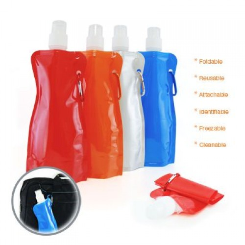 500ml plastic BPA-free foldable collapsible water bottle