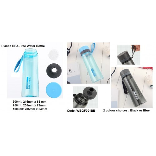 500ml, 750ml, 1000ml capacity plastic BPA-free water bottle