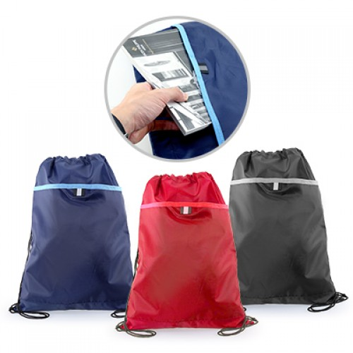 Custom Printing on Classic Polyester Drawstring Bag (Red, Blue, Black)