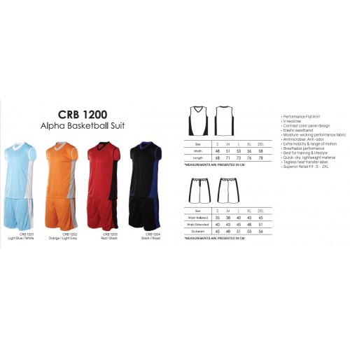 Crossrunner CRB1200 Basketball Jersey, Top & Bottom Suit Set