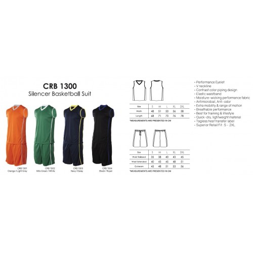 Crossrunner CRB1300 Basketball Jersey, Top & Bottom Suit Set