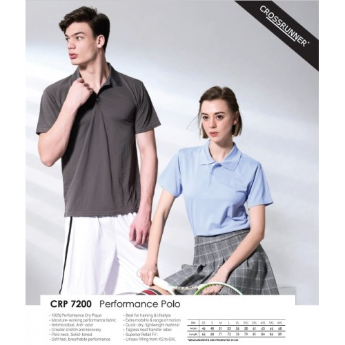 Crossrunner CRP7200 Dri Fit Performance Sports Polo Shirt