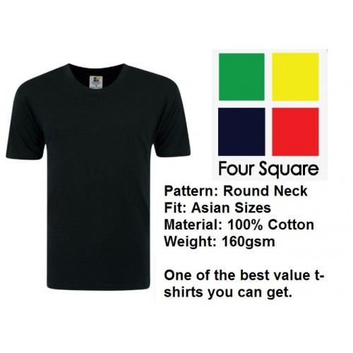 Foursquare Cotton Round Neck T-Shirt (160gsm)