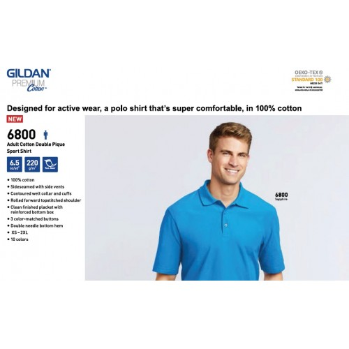 Gildan 6800 Premium Cotton Double Pique Polo Shirt