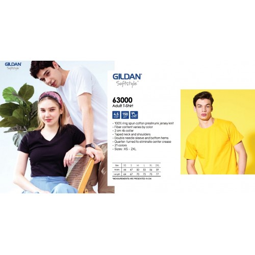 Gildan Softstyle 63000 Roundneck Unisex Cotton Tshirt