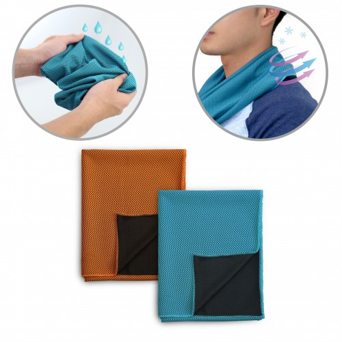 Orange Blue Cooling Sports Gym Towel