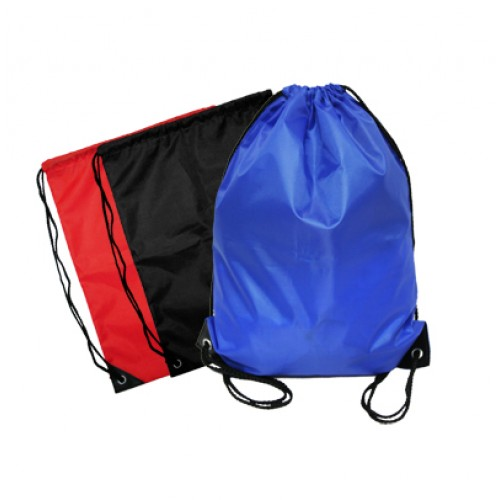 Logo Printing on Promotional Event Nylon Drawstring Bag (Red, Blue, Black)